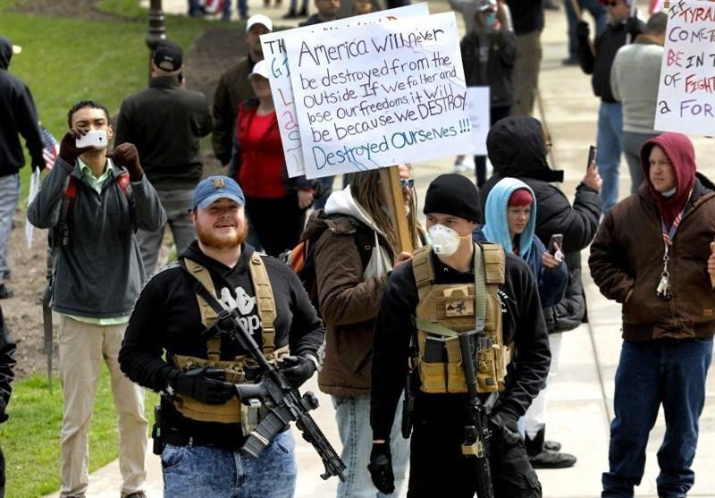 تظاهرات مسلحانه مخالفان قرنطینه در ایالت پنسیلوانیا