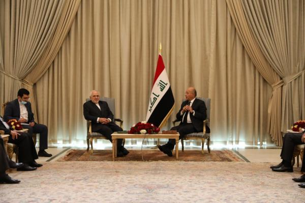 خبرنگاران دیدار ظریف با رییس جمهوری عراق